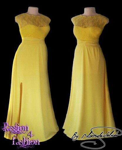 Yellow long evening dress wiht a lace bodice, rouged belt and a slit. Flowy. #mariselaveludo #fashion #eveningwear #lace #passion4fashion #yellowlacedress #eveningdress