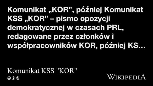 """""""Komunikat KSS """"KOR"""""""" på @Wikipedia:"""