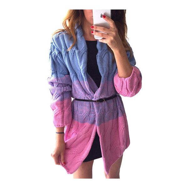Yoins Fashion Denim Blue Gradient Oversize Cardigan ($33) ❤ liked on Polyvore featuring tops, cardigans, oversized cardigan, purple camisole top, purple cami top, purple camisole and camisole tops