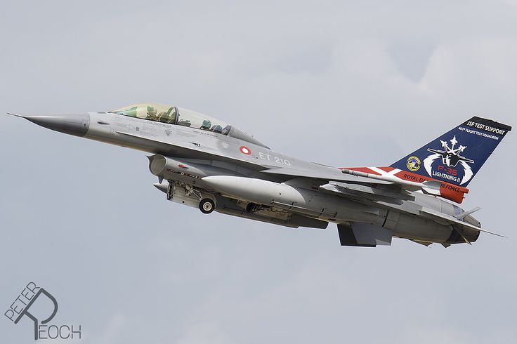 https://flic.kr/p/WpBsr2 | ET-210 / Royal Danish Air Force /  Lockheed Martin F-16BM Fighting Falcon | This F-16BM is operated by the Royal Danish Air Force and is seen here performing a missed approach at Geilenkirchen. This particular airframe has only recently returned home to Denmark, as it was stationed at Edwards AFB (California) for a number of years supporting the F-35 Lightning development program, which is showcased by the special tail on the jet.