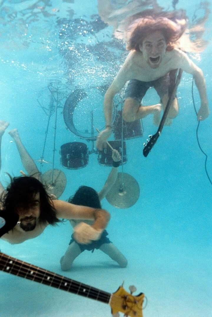Nirvana at a video shoot :) #pool #nirvana #music #instruments