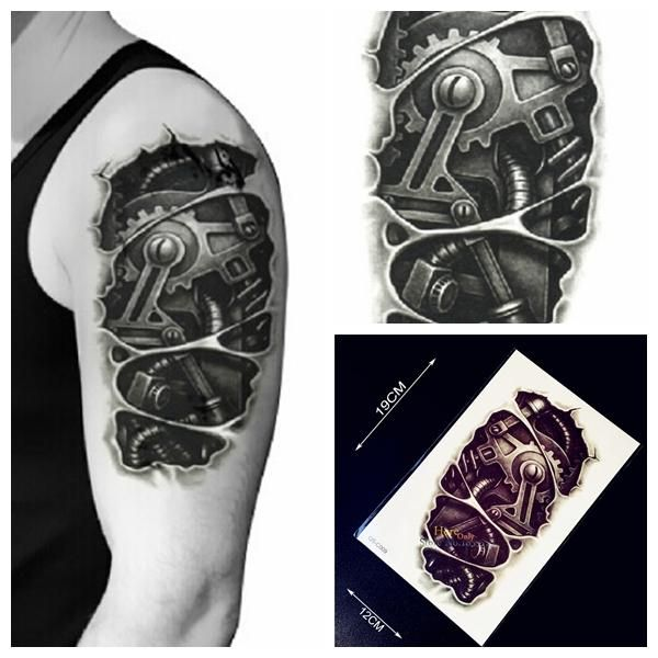 [Visit to Buy] 1PC New Design 3D Metal Robot Arm Waterproof  Temporary Tattoo Stickers Men HC09 Body Arm Sleeve Tattoo Removable Transfer Tatoo #Advertisement