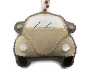 VW Beetle Plush Cream Felt Toy, Hanging Ornament, Gift for Car Lovers