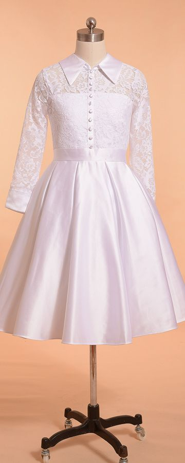 Modest first communion dresses long sleeves lace ball gown girls communion dresses knee length white holy communion dresses