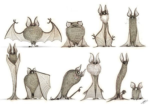 BATS SKETCHES by Olivier SILVEN, via Behance