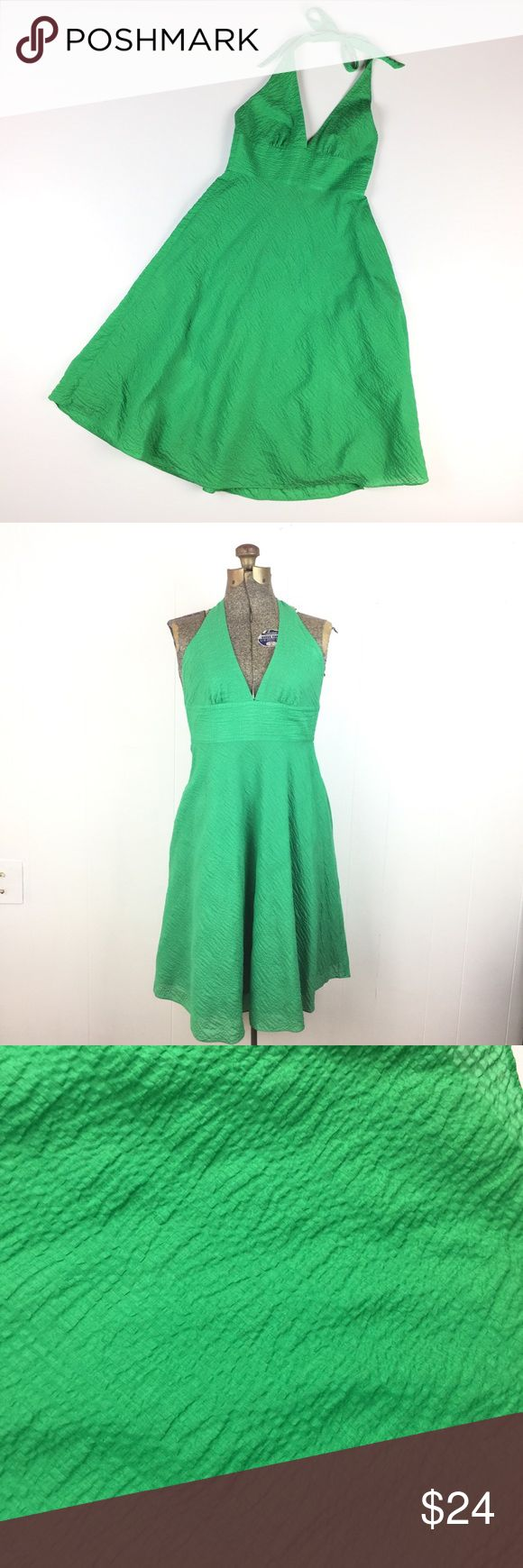 "J. Crew Grass Green Cotton Halter Dress // P2 J. Crew Grass green Crinkle cotton fit n flare Halter dress. Lined. Back zipper. Very good condition. 100% cotton. Size Petite 2. Apx: 40"" long tied at shortest length. 12 3/4"" waist flat. J. Crew Dresses"