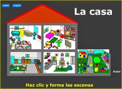 Elementos de la casa: la cocina, el comedor, el dormitorio, el cuarto de baño y el jardín. En Inglés, castellano o gallego.