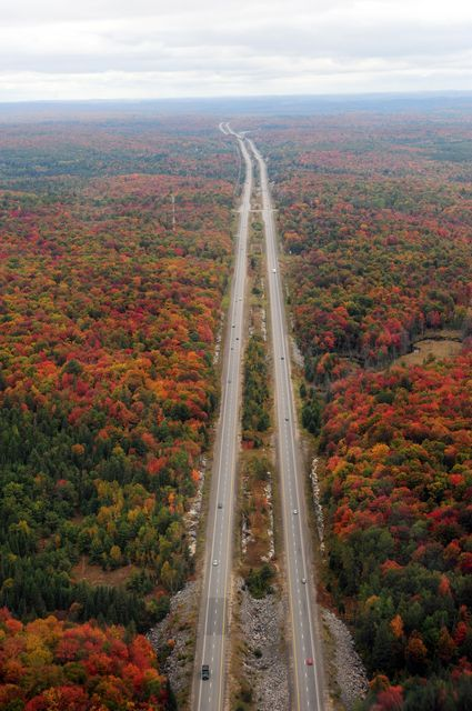 Aerial Fall Image of Highway 11. Ontario, Canada.
