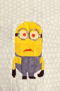 Minion paper pieced quilt block pattern, from Twelo Quilting.