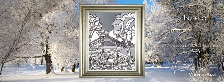 """""""Inverno"""" (Winter) - acrilico ed inchiostro su tela (acrylic and ink on canvas) - 40x50 cm - by Vincenzo Pazzi - http://vincenzopazzi.com/2015/02/10/inverno-winter/ - #art #acrylic #ink #canvas #inverno #winter"""