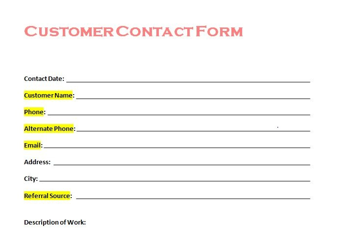 Free Customer Contact Form from Tradesman Startup Customer - new customer account form template