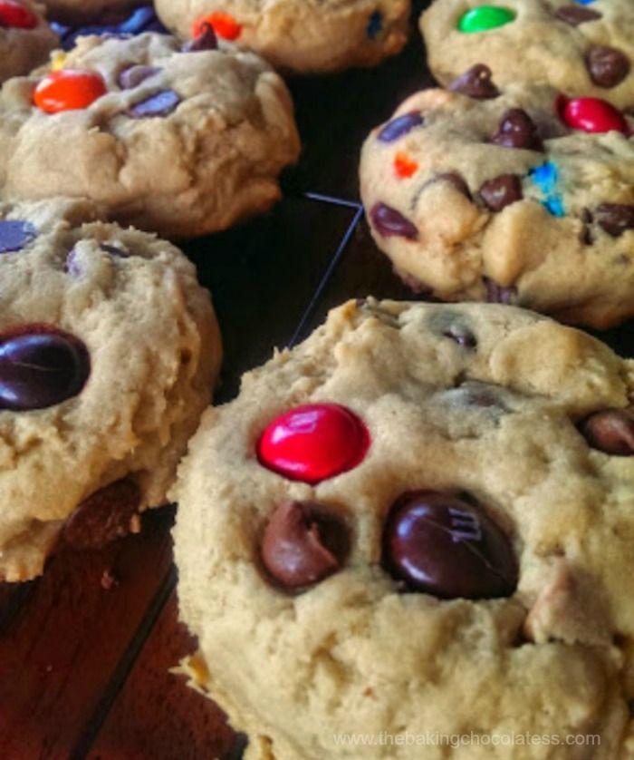 The Baking ChocolaTess | Soft JUMBO Peanut Butter Cookies {PB MandMs, Milk Chocolate Chips and Reese Cups Allowed!} | http://www.thebakingchocolatess.com