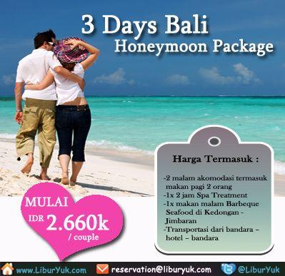Ngin Berbulan Madu Di Pulau BaliKini Anda Tidak Perlu Repot Lagi Karena Saat Ini Sudah Tersedia 3 Hari Honeymoon PackageYuk Booking Sekarang Juga
