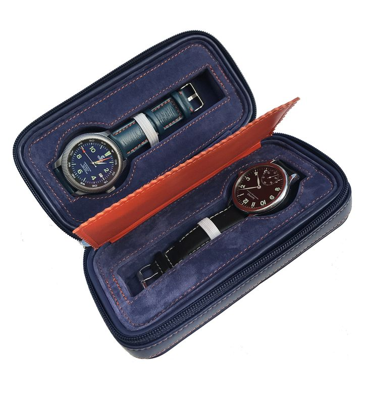 Blue Leather Watch Storage Box - Dual Watch Holder And Organizer - Great Travel Case Display For Your Luxury Watches.