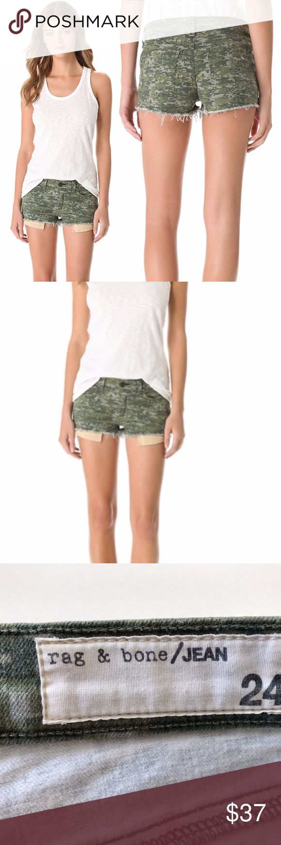 Rag And Bone Mila  Denim Short Camo Size 24 Rag and bone shorts. Green camo Size 24. Good condition with no spots or stains.   55% cotton rag & bone Shorts Jean Shorts