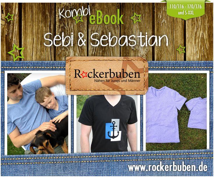 Sebi und Sebastian # Rockerbuben # Gr 110 - 176 und S - XXL # Schnitt und Nähanleitung für ein Herren T-Shirt mit V-Ausschnitt aus Jersey und die Jungsvariante