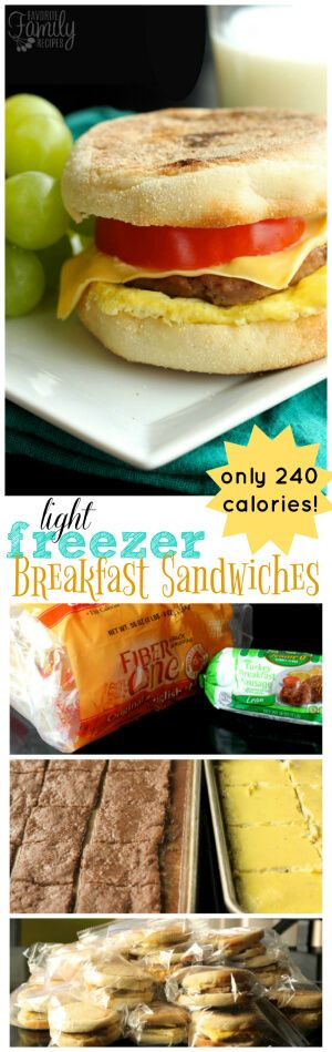 These Light Freezer Breakfast Sandwiches are perfect for mornings on the go.  You can make 24 at once, freeze them, and pull them out one at a time to heat. via @favfamilyrecipz