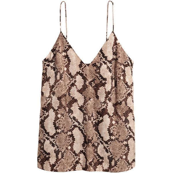 V-neck Camisole Top $17.99 ($18) ❤ liked on Polyvore featuring tops, strappy v neck cami, snake print top, v neck cami, brown cami top and cami top