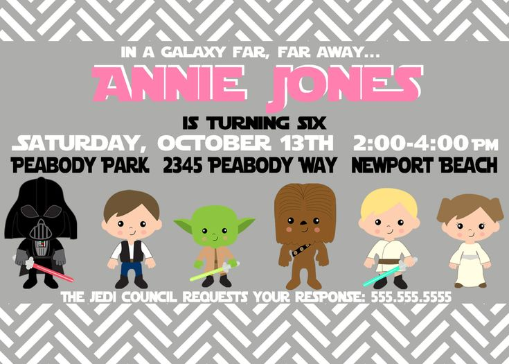 Star Wars Custom Birthday Invite for Girls - Star Wars Party Invitation - Party Supplies. $12.00, via Etsy.