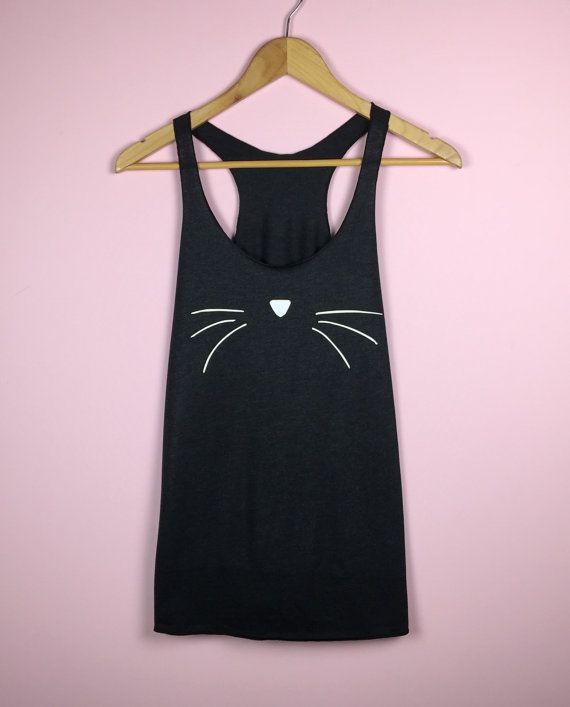 Camisa de la cara del gato. Regalo de amante del gato. Tapa