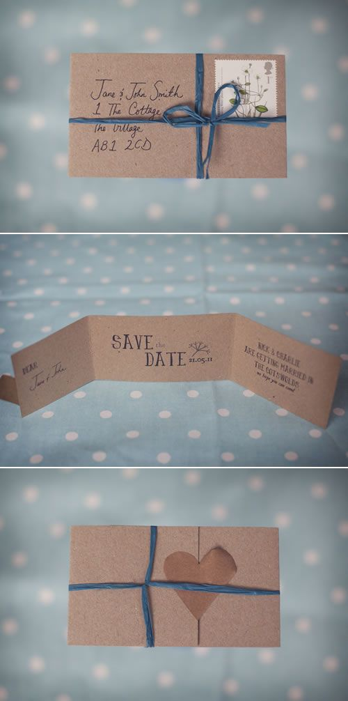 handmade rustic 'save the date' cards