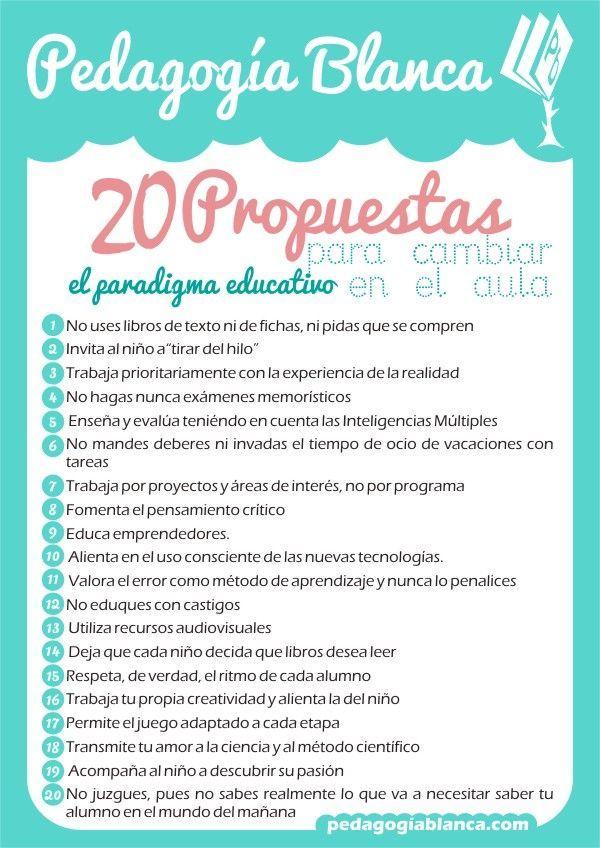 Hola: Una infografía con 20 propuestas para cambiar en el aula. Un saludo