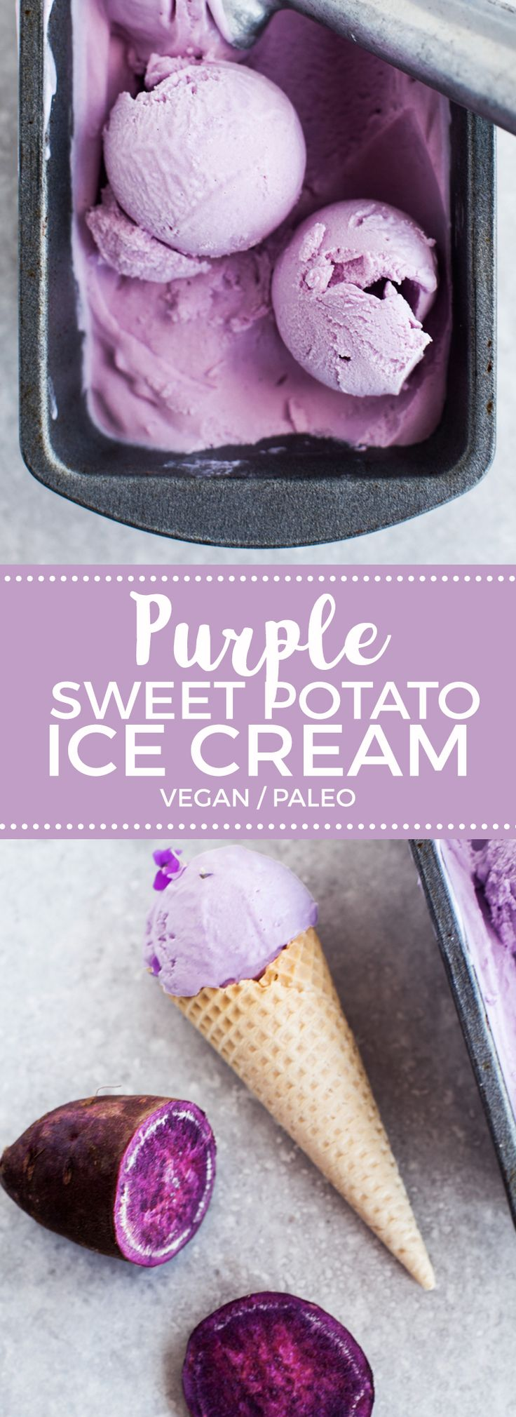 Coconut & Purple Sweet Potato Ice Cream (Vegan)...look at the natural colour of this!! :O :D