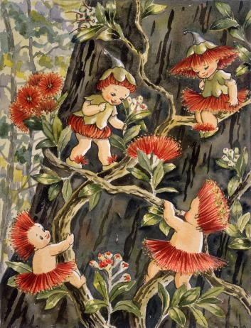 """""""We must be cousins!"""", said Hutu' – Pohutukawa fairies – An illustration from 'Hutu and Kawa find an island' (1957), by Avis Acres. Alexander Turnbull Library,  Reference: 1/2-107690"""