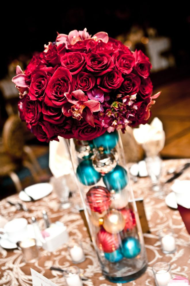 25 Stunning Wedding Centerpieces - Part 11 - Belle the Magazine . Love the idea of glass ball ornaments with flowers for a Christmas wedding!