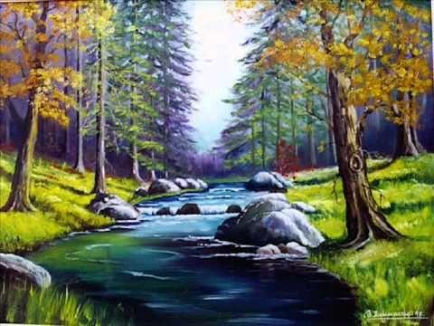 Como Pintar Un Bosque De Alamos Con Acrilicos Liquitex Sobre Tela Artista Leccion Arte - YouTube