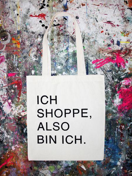 """Jutebeutel """"Ich shoppe, also bin ich."""" // Totebag by Liebe-und-Kraft via DaWanda.com"""