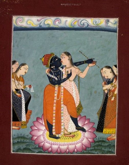 Kṛṣṇa and Rādhā embracing on a lotus pedestal flanked by gopis worshipping. Pahari School. Date 18thC(late). Painted in: Panjab Hills.