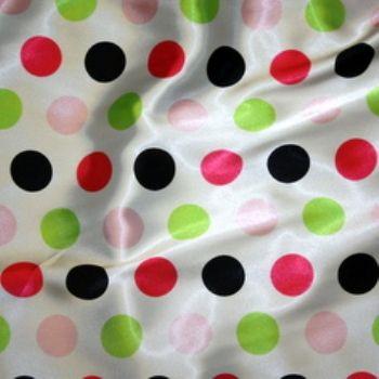 Pink U0026 Lime Polka Dot Table Linen Swatch