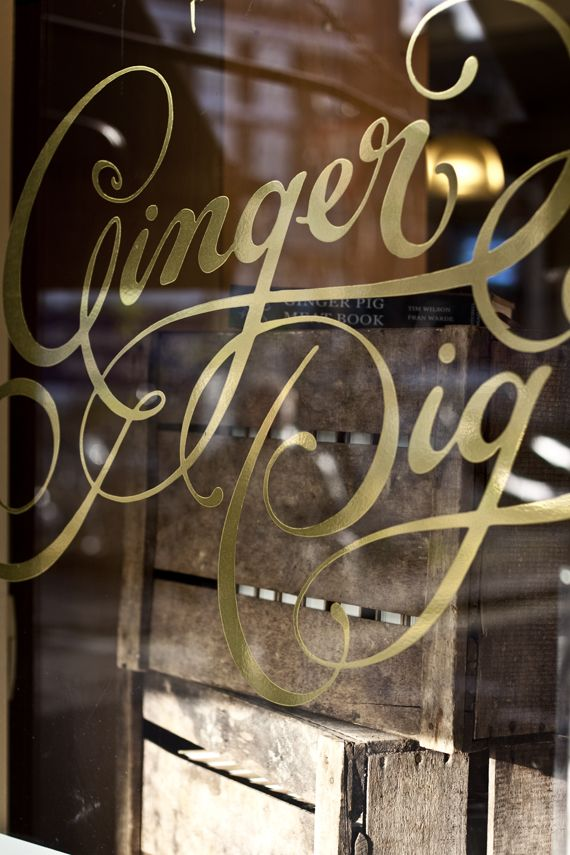 Type / gold vinyl lettering: Scripts, Logo, Stores Front, Window Graphics, Shops Signs, Vinyls Letters, Graphics Design, Gingers Pigs, Typography Inspiration