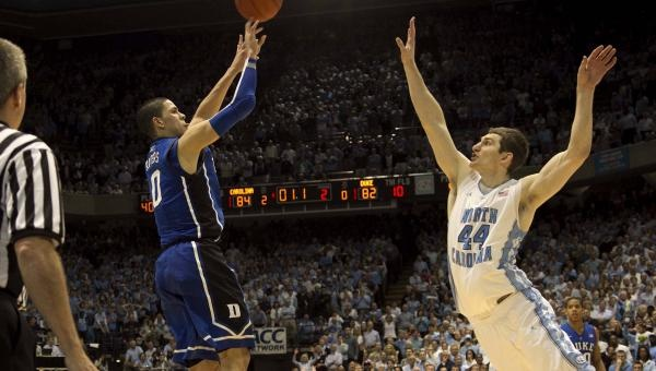 The shot. Austin Rivers over UNC's Zeller. 3 pointer at the buzzer for the win. 2/8/2012 in the Dean Dome. (Which went dead quiet.)