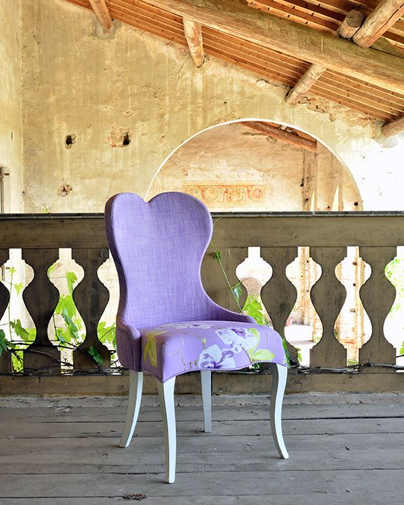 Viola Venetasedie chair from new Shabby Chic collection. Beautiful and fine fabrics shot in a cool location.