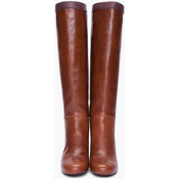 "Knee-high full grain leather boots in brown. Round toe. Contrast dark brown leather stripe at sides and collar. Tone on tone stitching. Approx 2.3"" heel. Leath…"