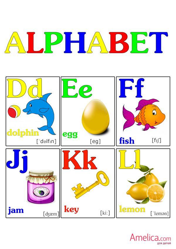 Карточки английского алфавита с картинками распечатать