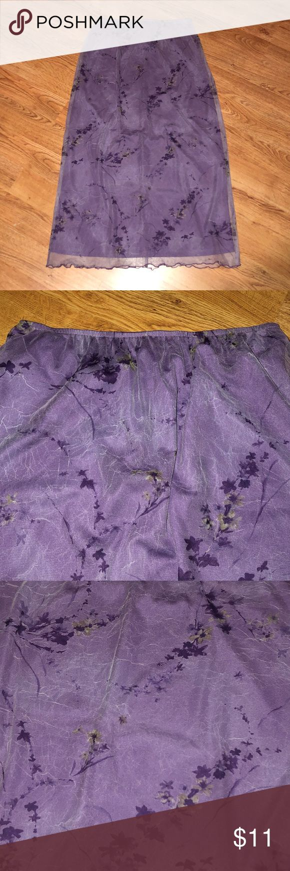 """Two Layer Floral Print Maxi Skirt ~Worn a few times, EUC! ~Approx length 36"""". ~Full elastic waist. ~Underskirt is solid purple. ~Sheer mesh overlay has a floral print and a crinkled look. ~Purple lettuce edging on the overlay. ~The overlay is about 1-1/2"""" longer than the underskirt. ~Center seam in back. ~Reasonable offers welcome. ~Thanks for visiting my closet! Sophisticates by Jonathan Martin Skirts Maxi"""