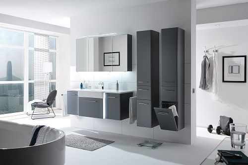 Badezimmermobel In Dunklen Grau Bad Badezimmer Design Modern