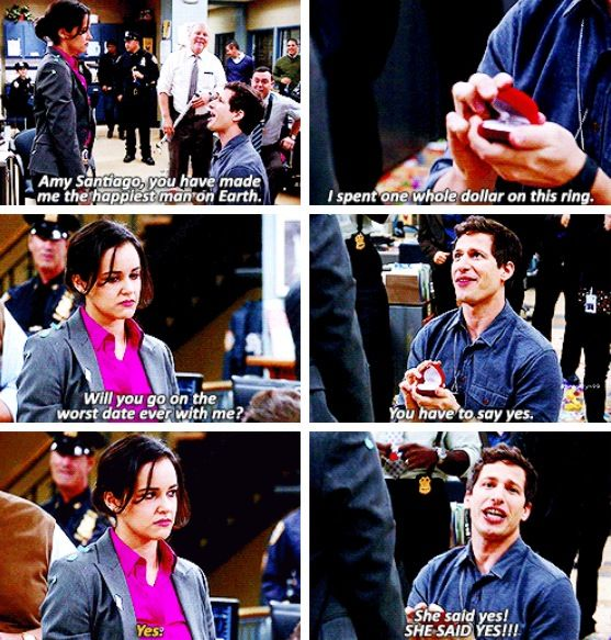 Brooklyn Nine-Nine, Jake and Amy. THIS IS LITERALLY MY FAVOURITE SCENE FROM THE WHOLE SHOW