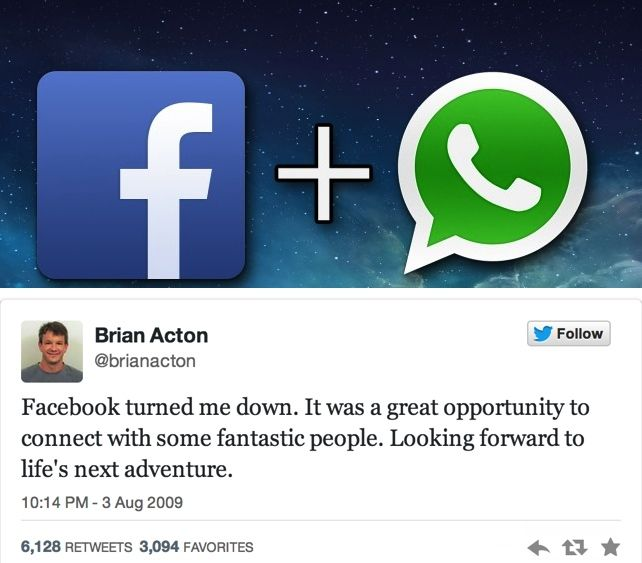 Did you know: Brian Acton, the co-founder of #WhatsApp, was rejected by #Facebook 4 years ago. #irony