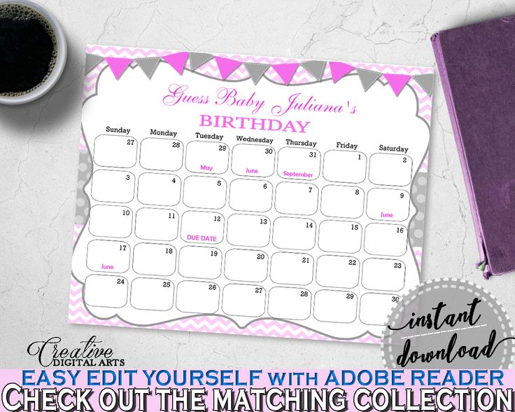 Baby Shower BIRTHDAY PREDICTION due date calendar editable with gray and chevron pink theme printable, instant download - cp001 #babyshowergames #babyshower