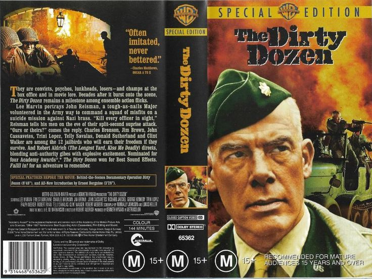 The Dirty Dozen - (1967) Starring Lee Marvin, - War Film Classic VHS PAL
