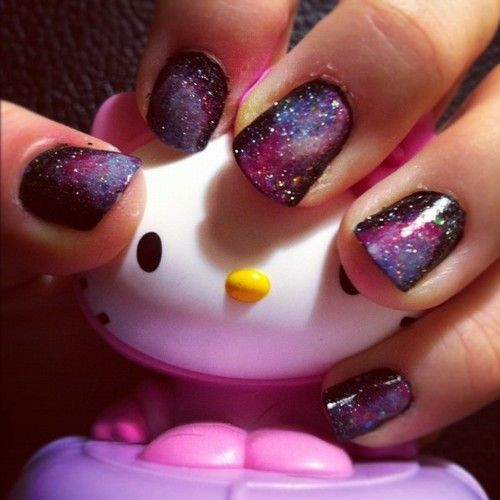 very pretty: Nails Art, Black Nails, Purple Nails, Galaxy Nails, Hello Kitty, Spaces Nails, Outer Spaces, Nails Tutorials, Galaxies Nails