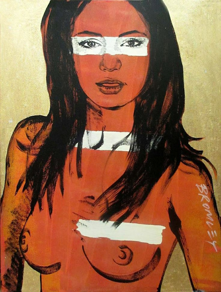 "DAVID BROMLEY Nude ""Mallory"" Polymer & Gold Leaf on Canvas 120cm x 90cm"