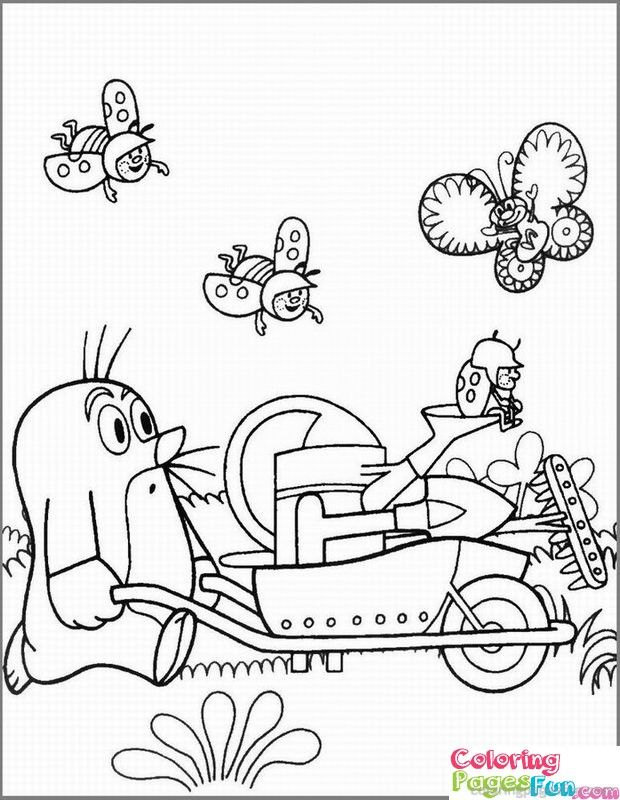 Ausmalbild für Kinder mit dem kleinen Maulwurf Pauli. Ausmalbild mit Maulwurf und Schubkarre, Gießkanne, Marienkäfer, Schmetterlinge & Co.