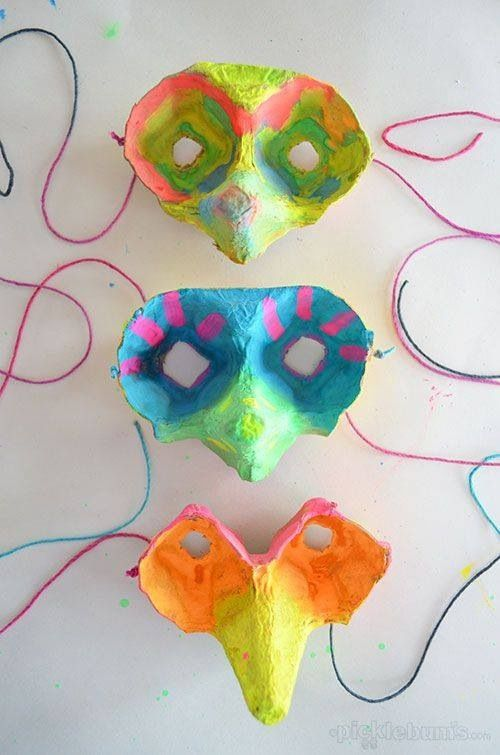 Spring birdie masks made from egg cartons