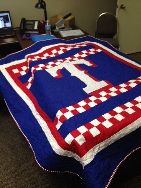 Texas Rangers Quilt front, Texas flag back, and a signed quiltblock from family for the star. The perfect birthday gift!