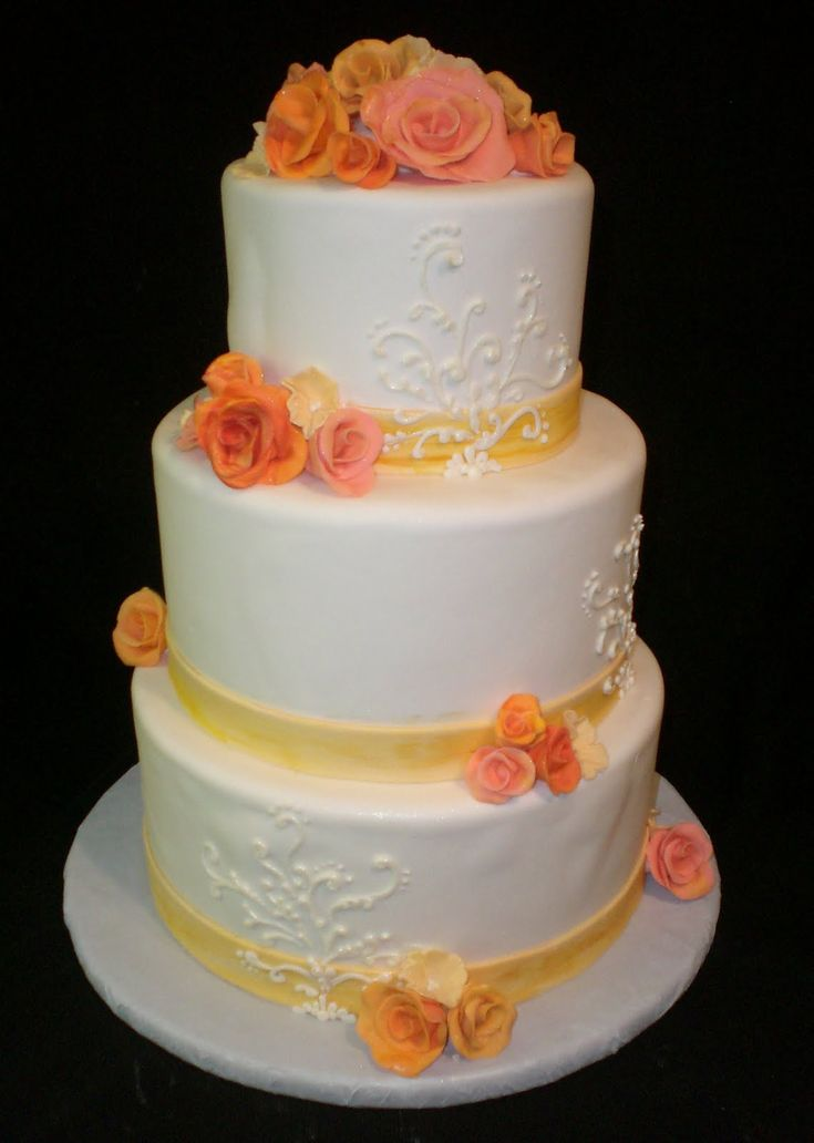 wedding cake scroll design template | The Crimson Cake Blog: Coral and Yellow Flower Wedding Cake